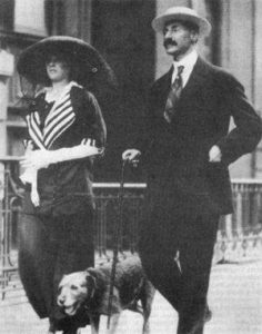 John Jacob Astor IV, his wife Madeleine, and their dog, Kitty, about the board the fated ship. John and Kitty did not survive.