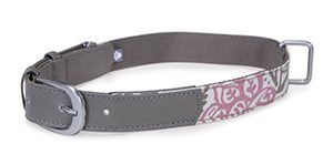 85013 Fashion Dog Collar with Tag Silencer, Pink Floral