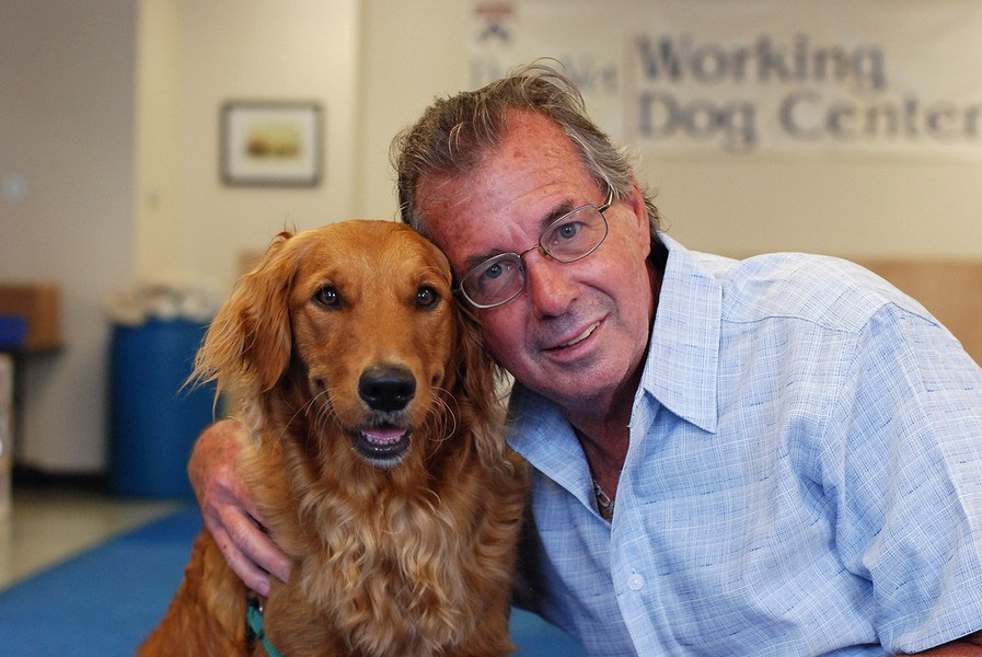 Wayne Mowry and his diabetic detection dog (and best friend) Bretagne.