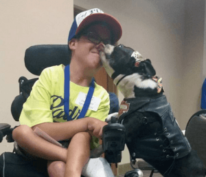 Chopper the Biker Dog puts a smile on the face of everyone he meets! Photo via Chopper the Biker Dog/Facebook