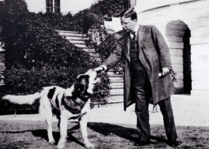 President Theodore Roosevelt with his St. Bernard, Rollo.