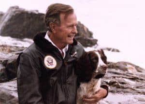 President Bush with his Springer Spaniel, Ranger. Photo Credit: George Bush Presidential Library and Museum