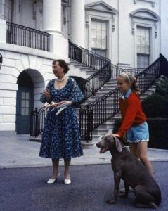Heidi the Weimaraner proved too unpredictable to appear at a White House Easter Egg Roll (seen here being held by Ann Eisenhower).