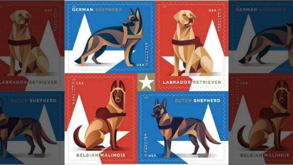 USPS Honors Military Working Dogs in New Set of Postage Stamps
